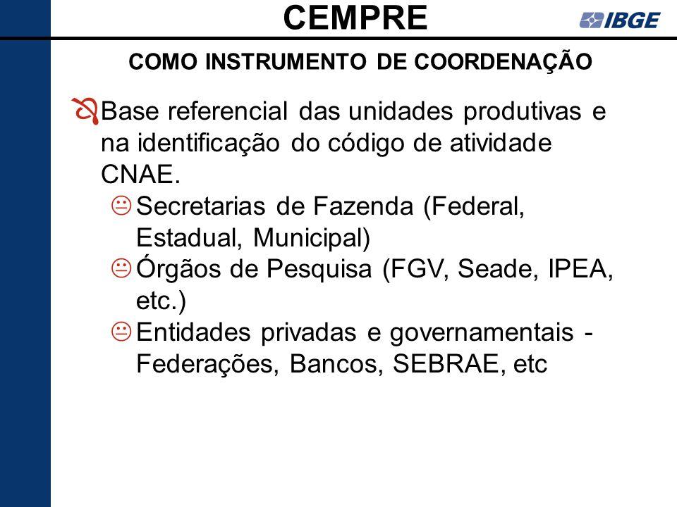 CEMPRE COMO INSTRUMENTO DE COORDENAÇÃO Ô Base referencial das unidades produtivas e na identificação do código de atividade CNAE. KSecretarias de Faze