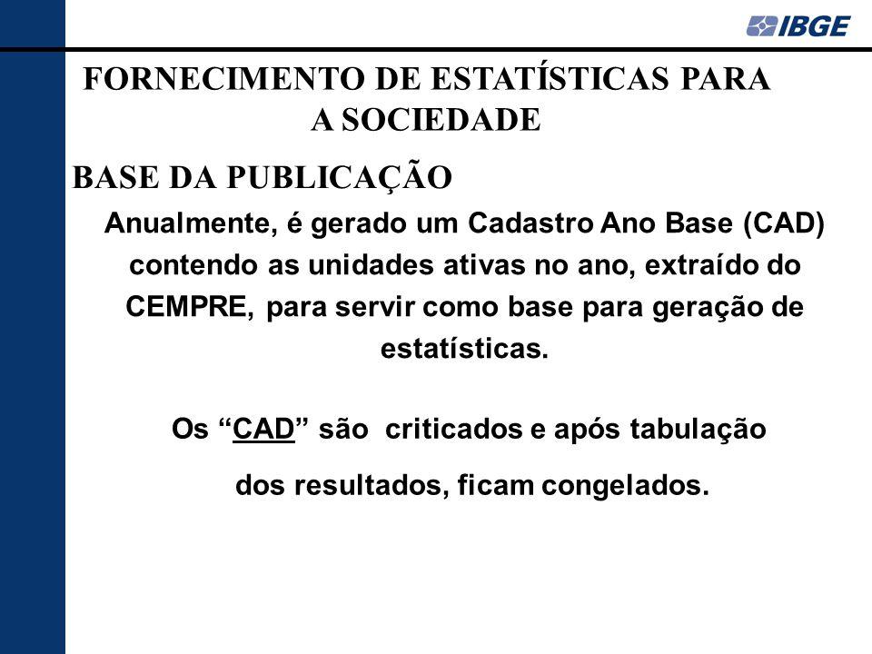 """BASE DA PUBLICAÇÃO Os """"CAD"""" são criticados e após tabulação dos resultados, ficam congelados. Anualmente, é gerado um Cadastro Ano Base (CAD) contendo"""