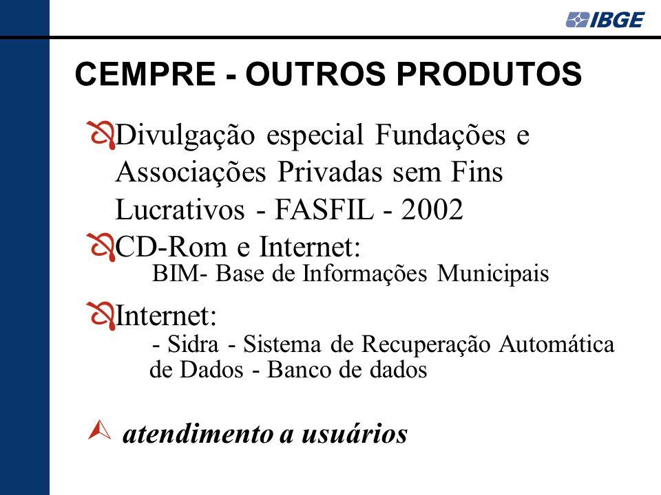 ÔDivulgação especial Fundações e Associações Privadas sem Fins Lucrativos - FASFIL - 2002 ÔCD-Rom e Internet: BIM- Base de Informações Municipais ÔInt