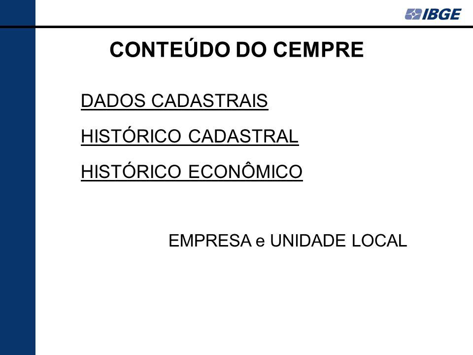 CONTEÚDO DO CEMPRE DADOS CADASTRAIS HISTÓRICO CADASTRAL HISTÓRICO ECONÔMICO EMPRESA e UNIDADE LOCAL