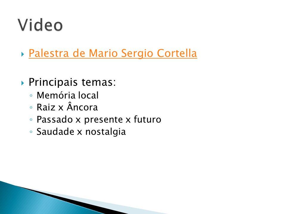  Palestra de Mario Sergio Cortella Palestra de Mario Sergio Cortella  Principais temas: ◦ Memória local ◦ Raiz x Âncora ◦ Passado x presente x futur