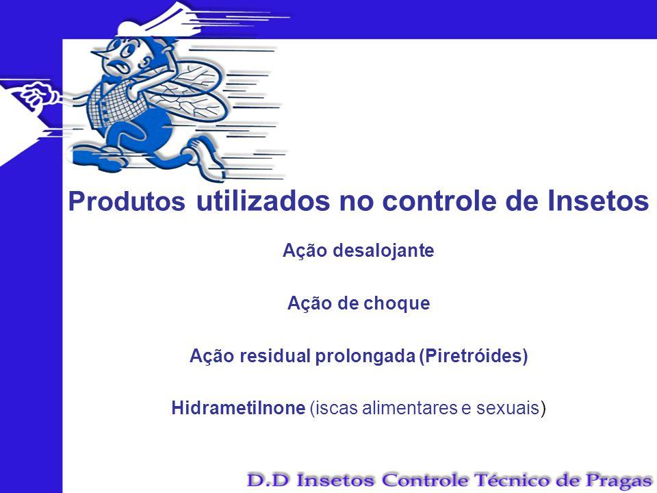Produtos utilizados no controle de Insetos Ação desalojante Ação de choque Ação residual prolongada (Piretróides) Hidrametilnone (iscas alimentares e