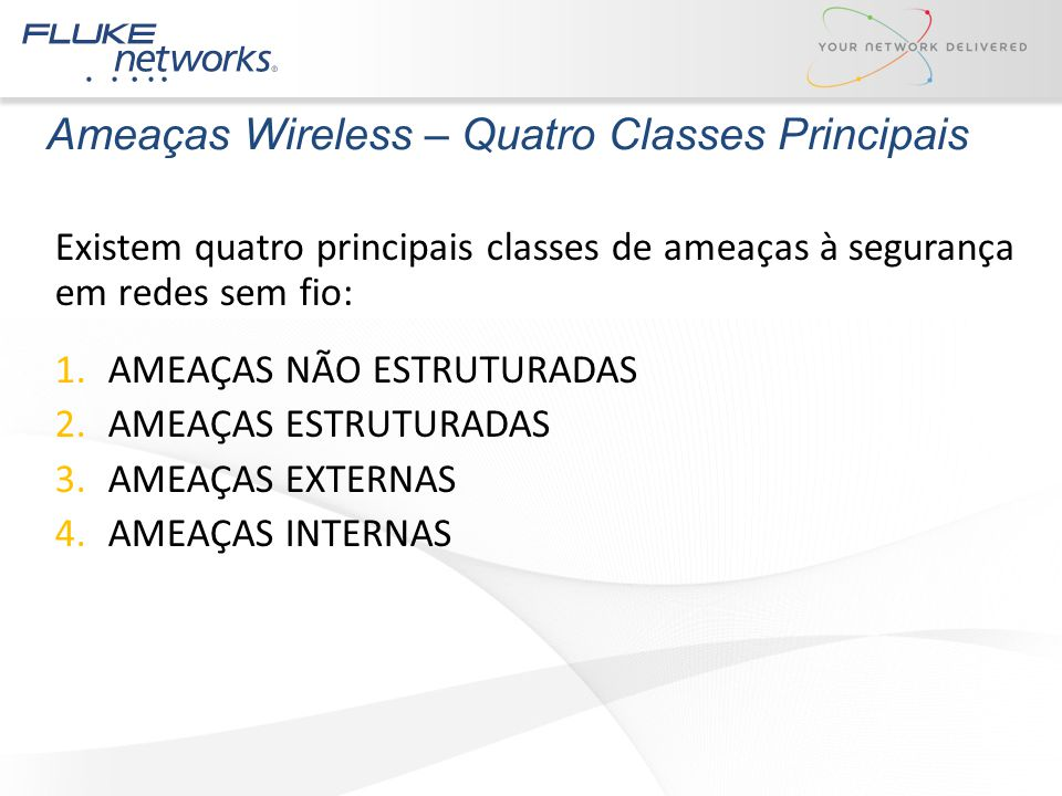 Ameaças Wireless – Quatro Classes Principais Existem quatro principais classes de ameaças à segurança em redes sem fio: 1.AMEAÇAS NÃO ESTRUTURADAS 2.A