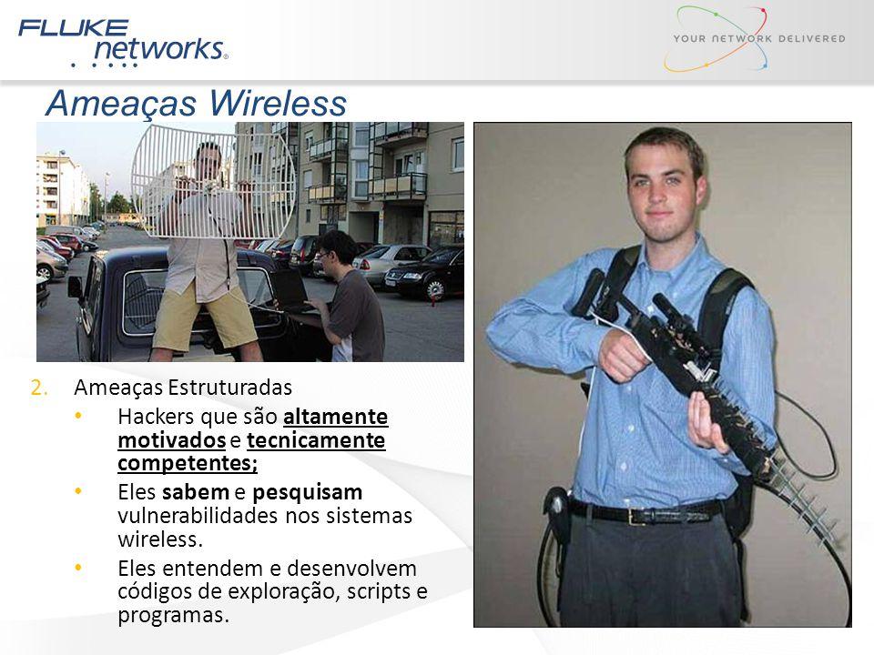 Ameaças Wireless 2.Ameaças Estruturadas Hackers que são altamente motivados e tecnicamente competentes; Eles sabem e pesquisam vulnerabilidades nos si