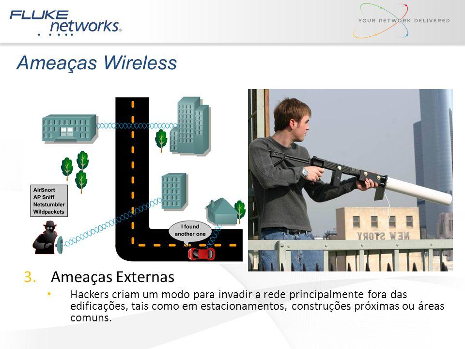 Ameaças Wireless 3.Ameaças Externas Hackers criam um modo para invadir a rede principalmente fora das edificações, tais como em estacionamentos, const