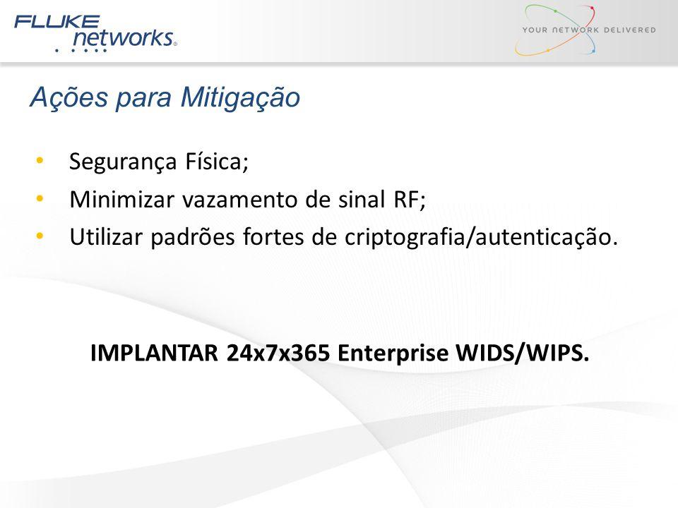 Ações para Mitigação Segurança Física; Minimizar vazamento de sinal RF; Utilizar padrões fortes de criptografia/autenticação. IMPLANTAR 24x7x365 Enter