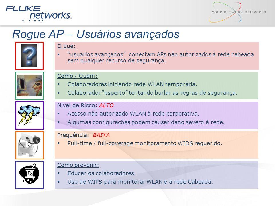 """Rogue AP – Usuários avançados Como / Quem:  Colaboradores iniciando rede WLAN temporária.  Colaborador """"esperto"""" tentando burlar as regras de segura"""