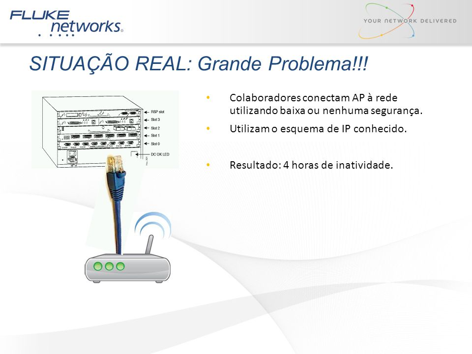 SITUAÇÃO REAL: Grande Problema!!! Colaboradores conectam AP à rede utilizando baixa ou nenhuma segurança. Utilizam o esquema de IP conhecido. Resultad