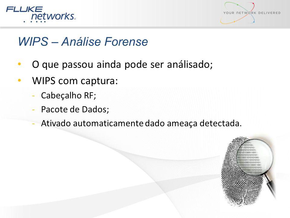 WIPS – Análise Forense O que passou ainda pode ser análisado; WIPS com captura: -Cabeçalho RF; -Pacote de Dados; -Ativado automaticamente dado ameaça