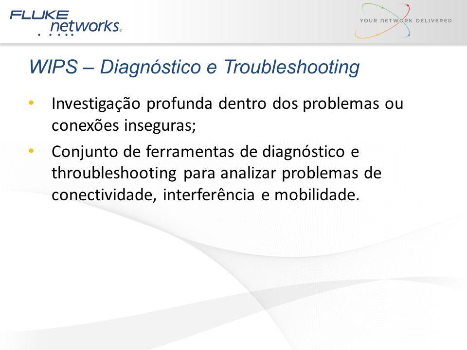 WIPS – Diagnóstico e Troubleshooting Investigação profunda dentro dos problemas ou conexões inseguras; Conjunto de ferramentas de diagnóstico e throub