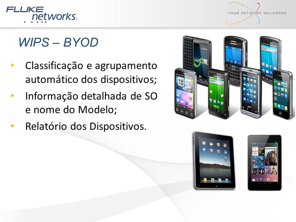 WIPS – BYOD Classificação e agrupamento automático dos dispositivos; Informação detalhada de SO e nome do Modelo; Relatório dos Dispositivos.