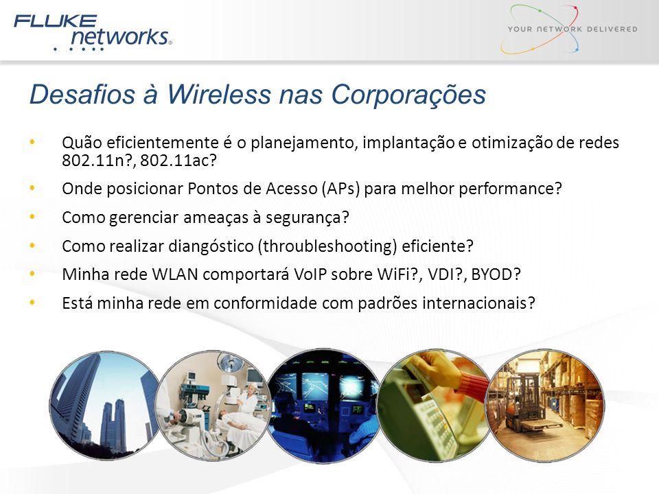 Desafios à Wireless nas Corporações Quão eficientemente é o planejamento, implantação e otimização de redes 802.11n?, 802.11ac? Onde posicionar Pontos