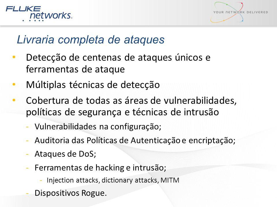 Livraria completa de ataques Detecção de centenas de ataques únicos e ferramentas de ataque Múltiplas técnicas de detecção Cobertura de todas as áreas