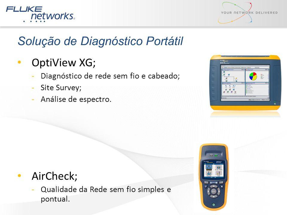 OptiView XG; -Diagnóstico de rede sem fio e cabeado; -Site Survey; -Análise de espectro. AirCheck; -Qualidade da Rede sem fio simples e pontual. Soluç
