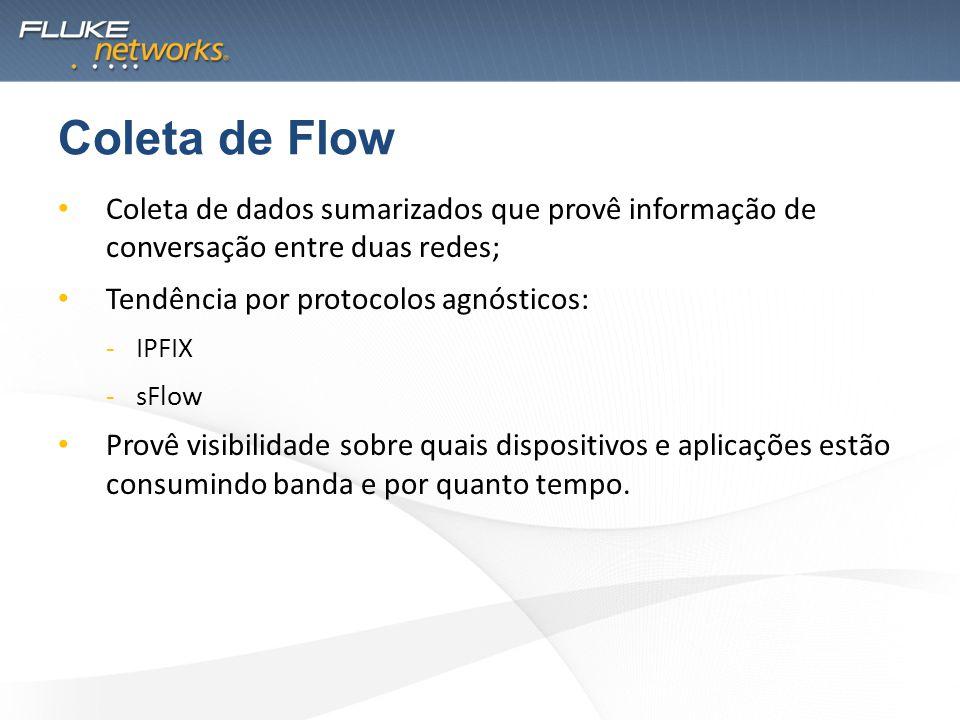 Coleta de dados sumarizados que provê informação de conversação entre duas redes; Tendência por protocolos agnósticos: -IPFIX -sFlow Provê visibilidad