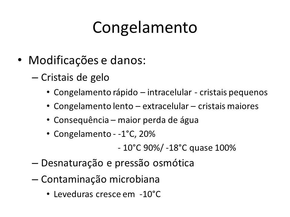Congelamento Modificações e danos: – Cristais de gelo Congelamento rápido – intracelular - cristais pequenos Congelamento lento – extracelular – crist