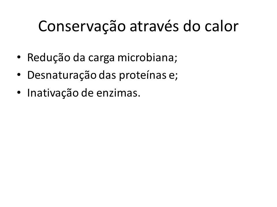 Conservação através do calor Redução da carga microbiana; Desnaturação das proteínas e; Inativação de enzimas.