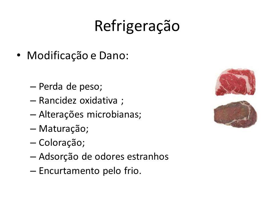 Refrigeração Modificação e Dano: – Perda de peso; – Rancidez oxidativa ; – Alterações microbianas; – Maturação; – Coloração; – Adsorção de odores estr