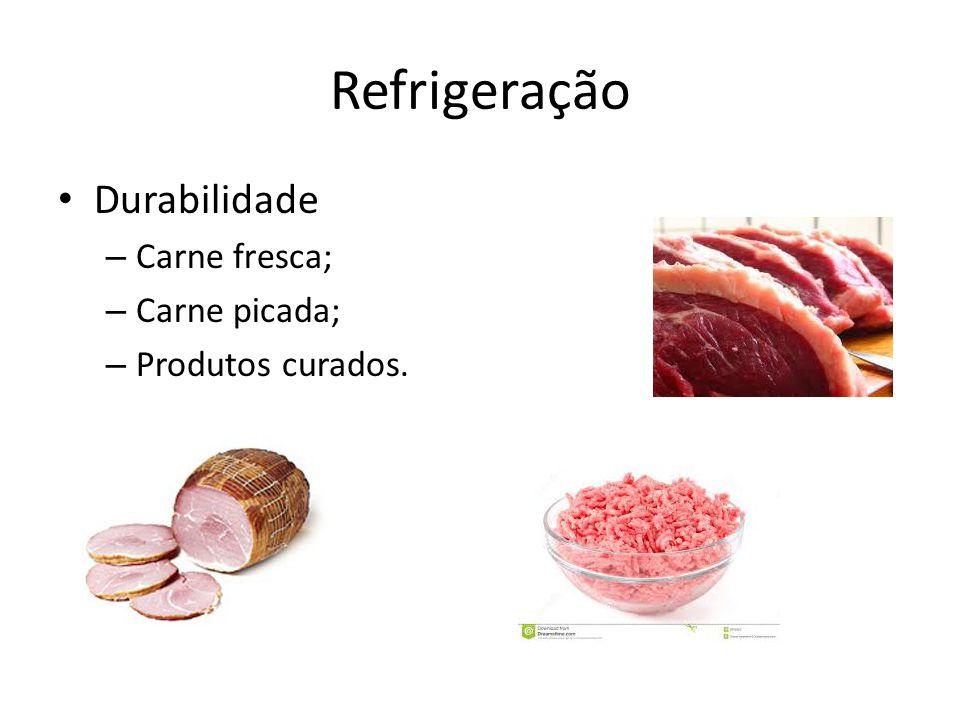 Refrigeração Durabilidade – Carne fresca; – Carne picada; – Produtos curados.