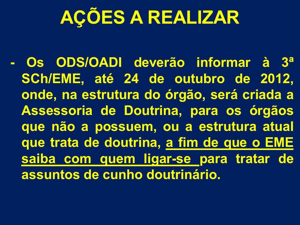 - Os ODS/OADI deverão informar à 3ª SCh/EME, até 24 de outubro de 2012, onde, na estrutura do órgão, será criada a Assessoria de Doutrina, para os órg