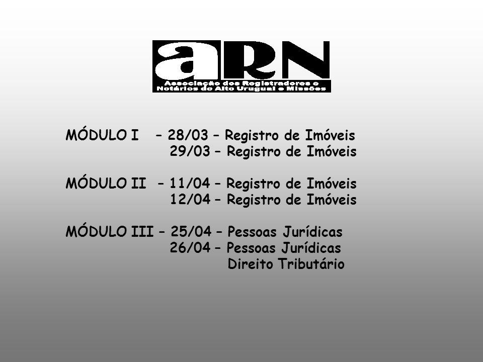 MÓDULO I – 28/03 – Registro de Imóveis 29/03 – Registro de Imóveis MÓDULO II – 11/04 – Registro de Imóveis 12/04 – Registro de Imóveis MÓDULO III – 25