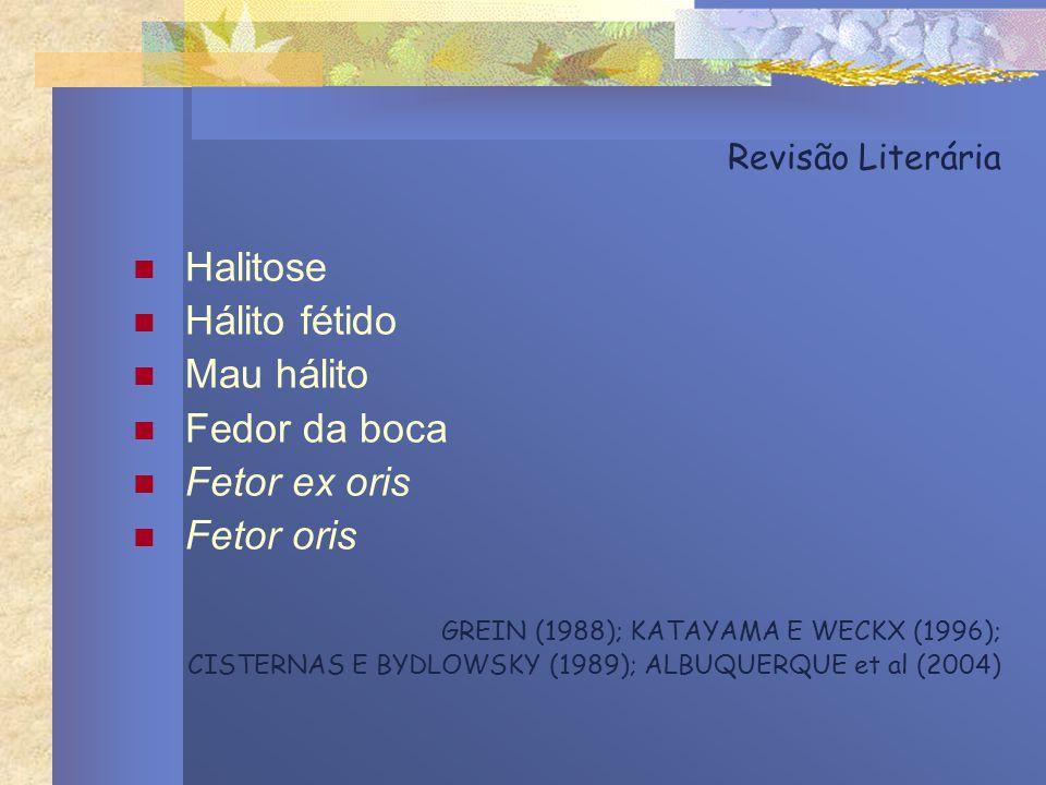 Revisão Literária Halitose Hálito fétido Mau hálito Fedor da boca Fetor ex oris Fetor oris GREIN (1988); KATAYAMA E WECKX (1996); CISTERNAS E BYDLOWSK