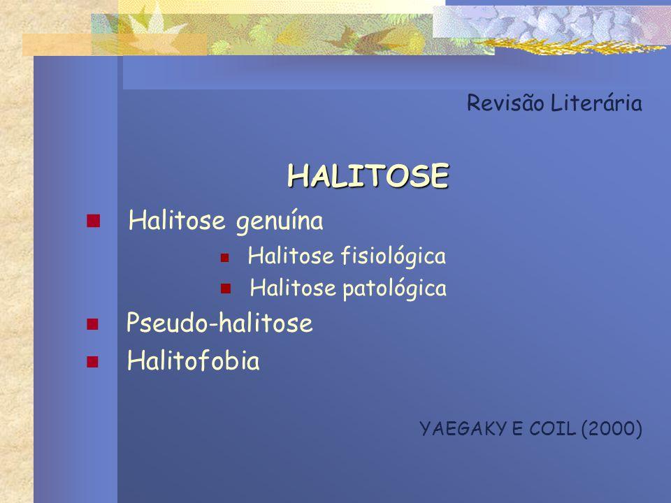 Revisão Literária HALITOSE Halitose genuína Halitose fisiológica Halitose patológica Pseudo-halitose Halitofobia YAEGAKY E COIL (2000)
