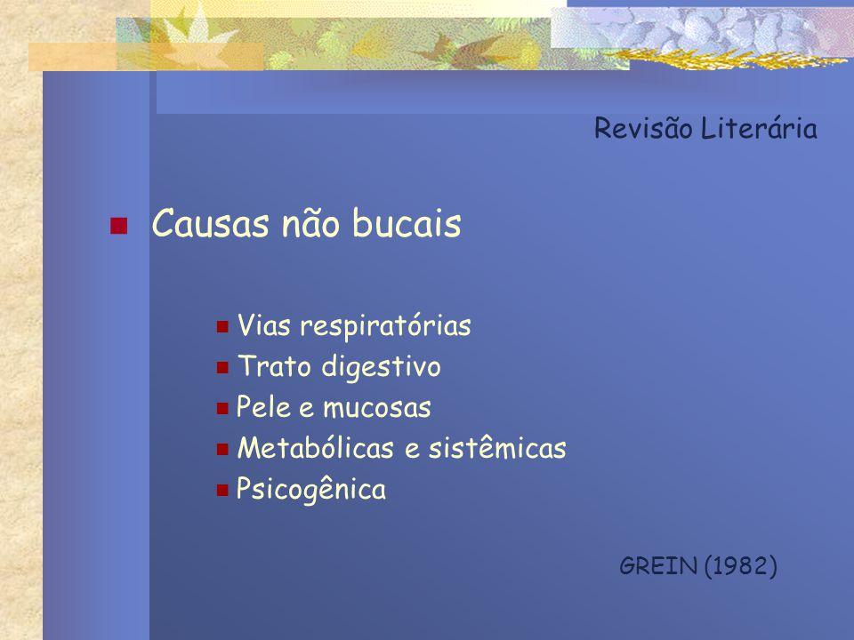 Revisão Literária Causas não bucais Vias respiratórias Trato digestivo Pele e mucosas Metabólicas e sistêmicas Psicogênica GREIN (1982)