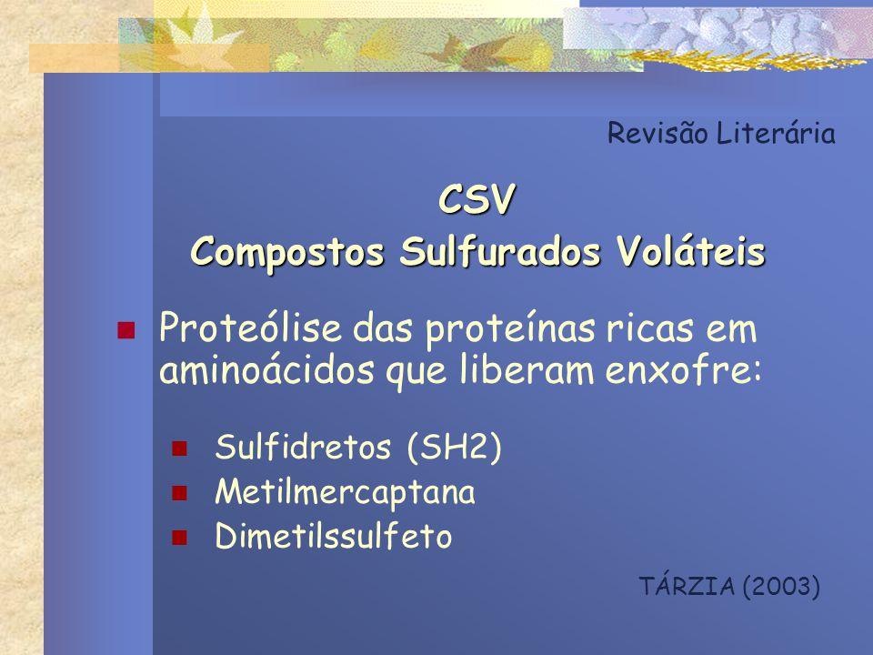 Revisão Literária CSV Compostos Sulfurados Voláteis Proteólise das proteínas ricas em aminoácidos que liberam enxofre: Sulfidretos (SH2) Metilmercapta