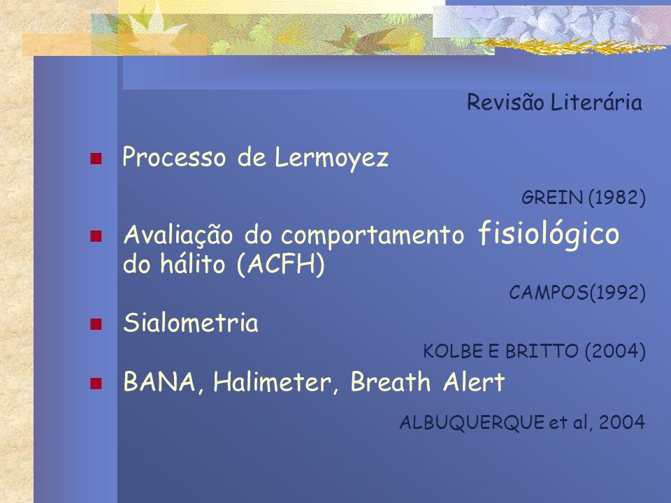 Revisão Literária Processo de Lermoyez GREIN (1982) Avaliação do comportamento fisiológico do hálito (ACFH) CAMPOS(1992) Sialometria KOLBE E BRITTO (2