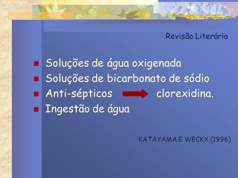 Revisão Literária Soluções de água oxigenada Soluções de bicarbonato de sódio Anti-sépticos clorexidina. Ingestão de água KATAYAMA E WECKX (1996)