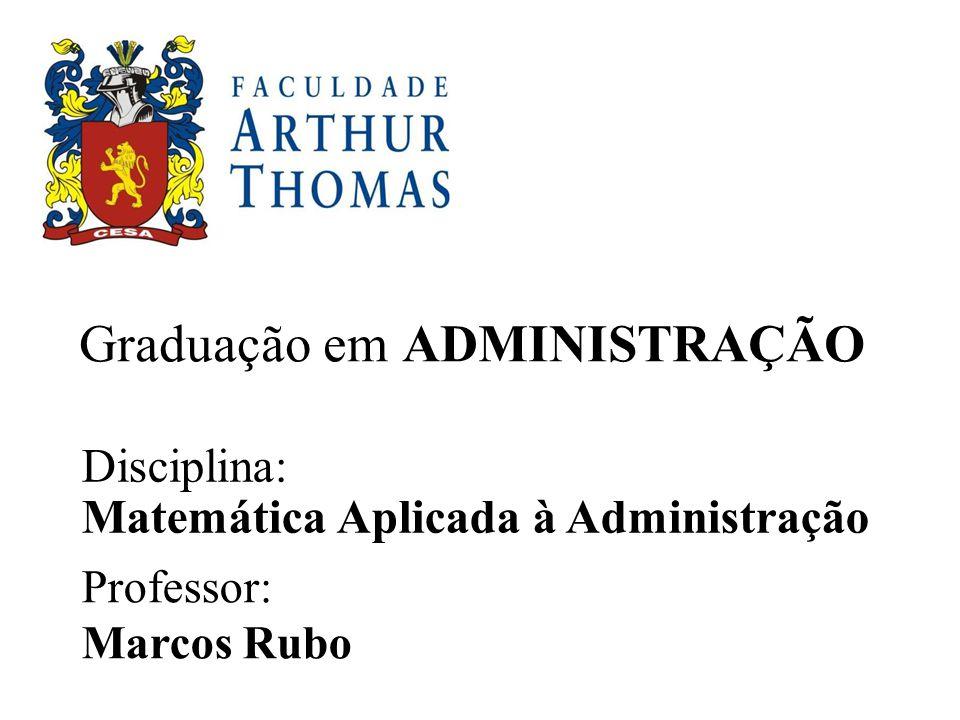 Graduação em ADMINISTRAÇÃO Disciplina: Matemática Aplicada à Administração Professor: Marcos Rubo