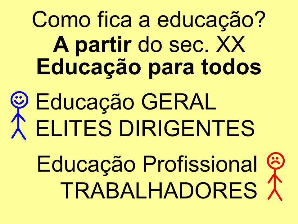 Como fica a educação? A partir do sec. XX Educação para todos Educação GERAL ELITES DIRIGENTES Educação Profissional TRABALHADORES