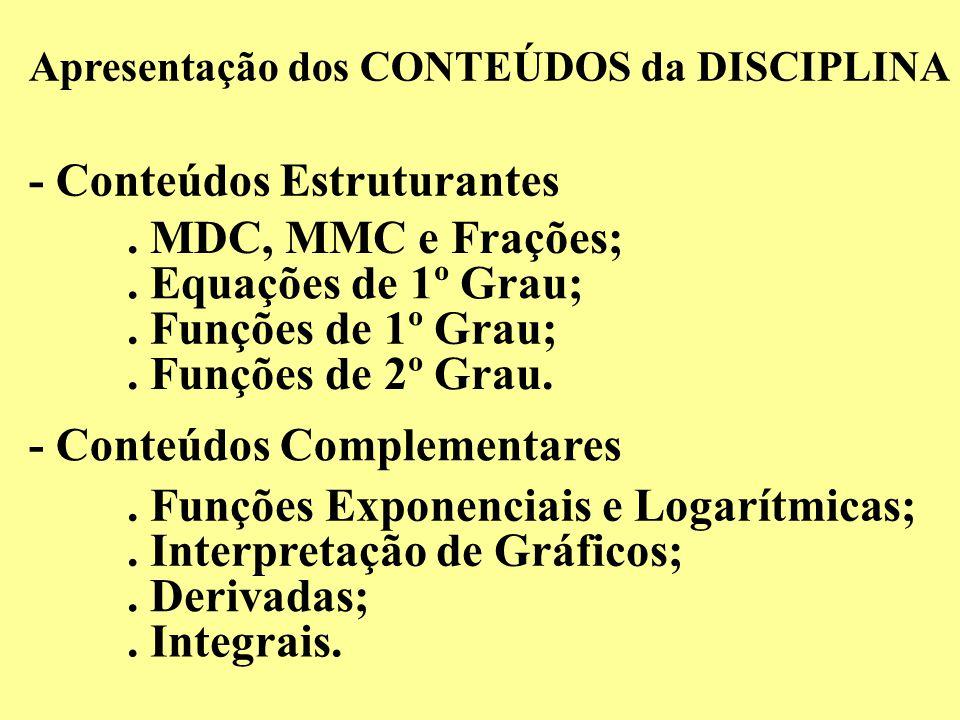 Apresentação dos CONTEÚDOS da DISCIPLINA - Conteúdos Estruturantes - Conteúdos Complementares. MDC, MMC e Frações;. Equações de 1º Grau;. Funções de 1