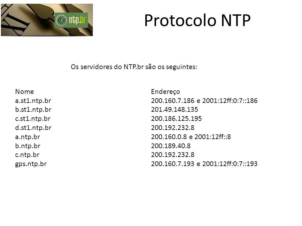 Protocolo NTP NomeEndereço a.st1.ntp.br200.160.7.186 e 2001:12ff:0:7::186 b.st1.ntp.br201.49.148.135 c.st1.ntp.br200.186.125.195 d.st1.ntp.br200.192.2