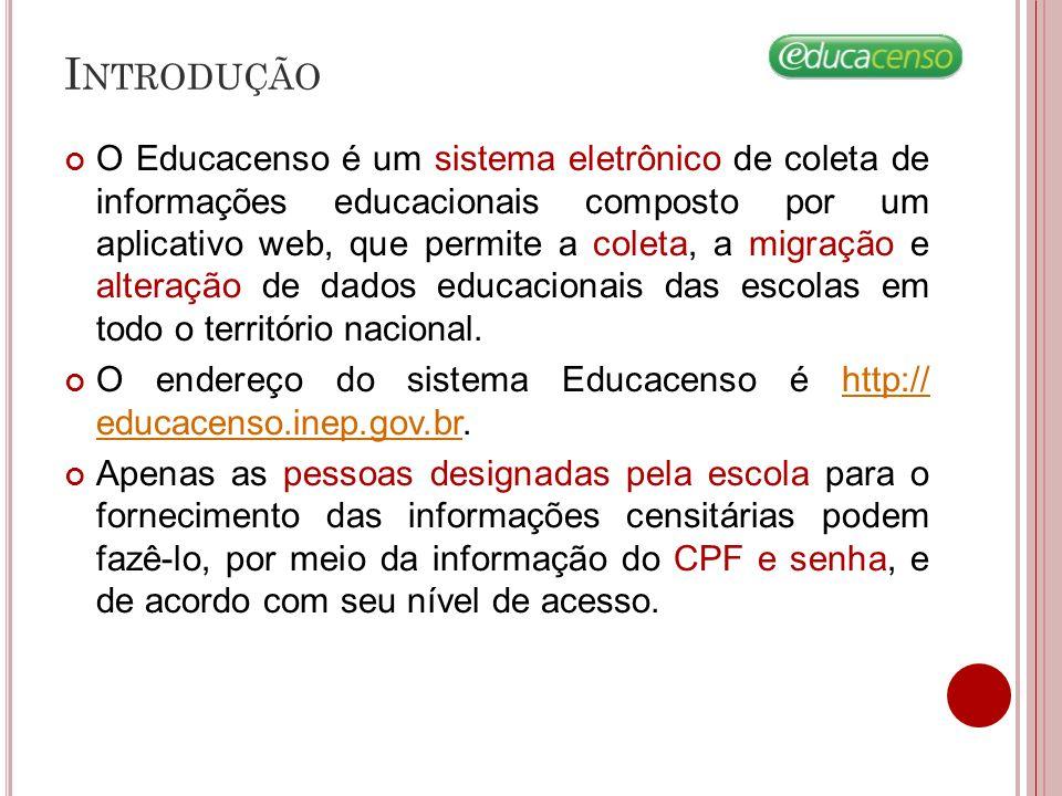 I NTRODUÇÃO O Educacenso é um sistema eletrônico de coleta de informações educacionais composto por um aplicativo web, que permite a coleta, a migraçã