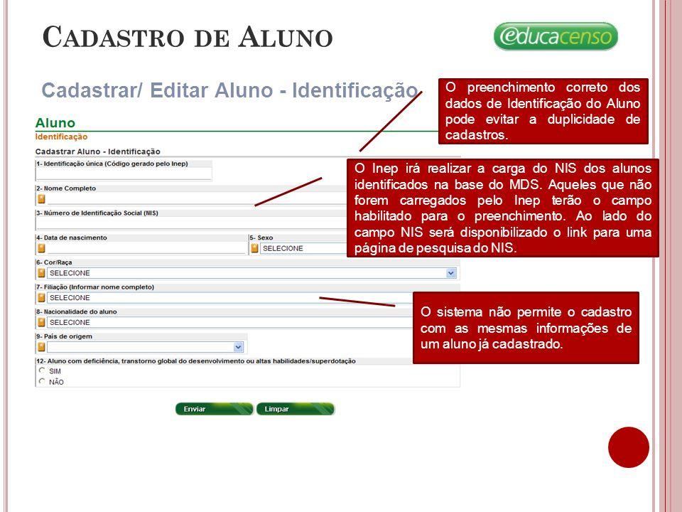 C ADASTRO DE A LUNO Cadastrar/ Editar Aluno - Identificação O preenchimento correto dos dados de Identificação do Aluno pode evitar a duplicidade de c