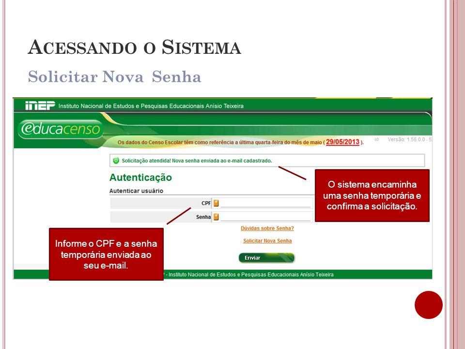 Solicitar Nova Senha A CESSANDO O S ISTEMA O sistema encaminha uma senha temporária e confirma a solicitação. Informe o CPF e a senha temporária envia