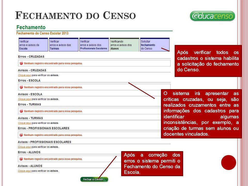 F ECHAMENTO DO C ENSO Após verificar todos os cadastros o sistema habilita a solicitação do fechamento do Censo. O sistema irá apresentar as críticas