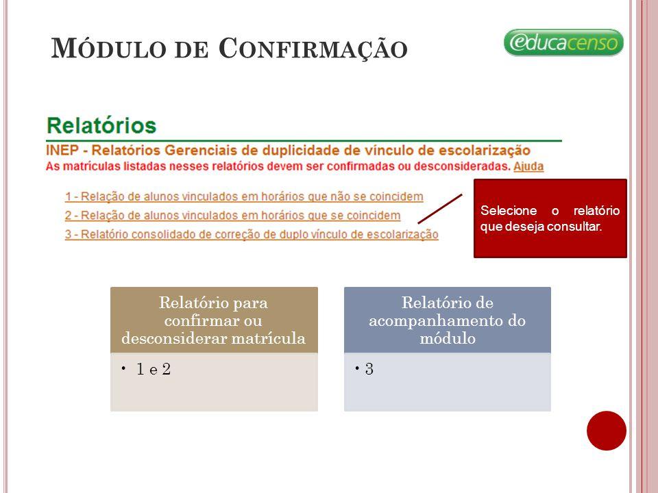 M ÓDULO DE C ONFIRMAÇÃO Relatório para confirmar ou desconsiderar matrícula 1 e 2 Relatório de acompanhamento do módulo 3 Selecione o relatório que de