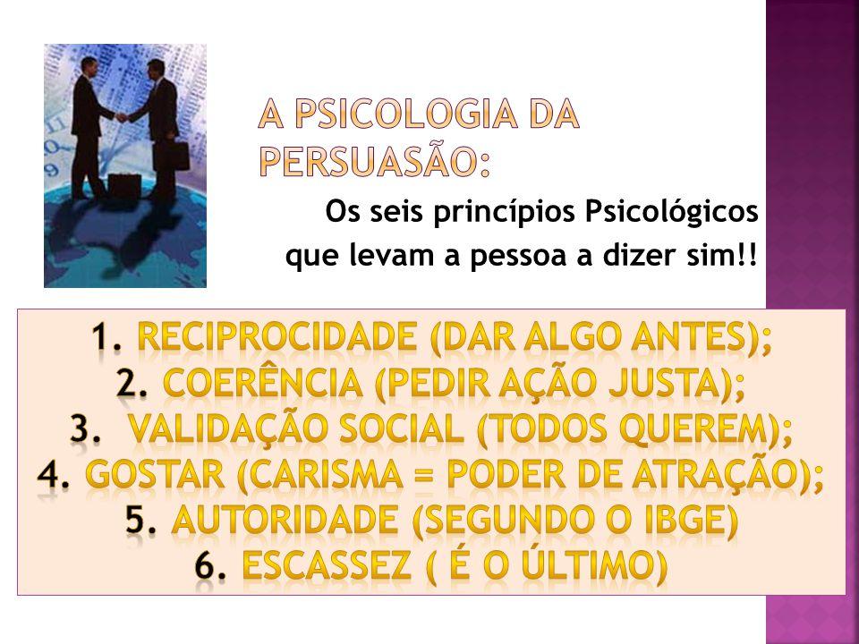 Os seis princípios Psicológicos que levam a pessoa a dizer sim!!