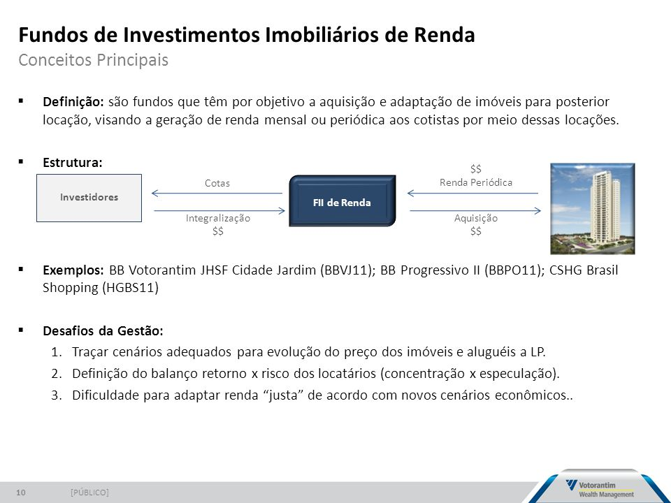 Fundos de Investimentos Imobiliários de Renda Conceitos Principais [PÚBLICO]10  Definição: são fundos que têm por objetivo a aquisição e adaptação de