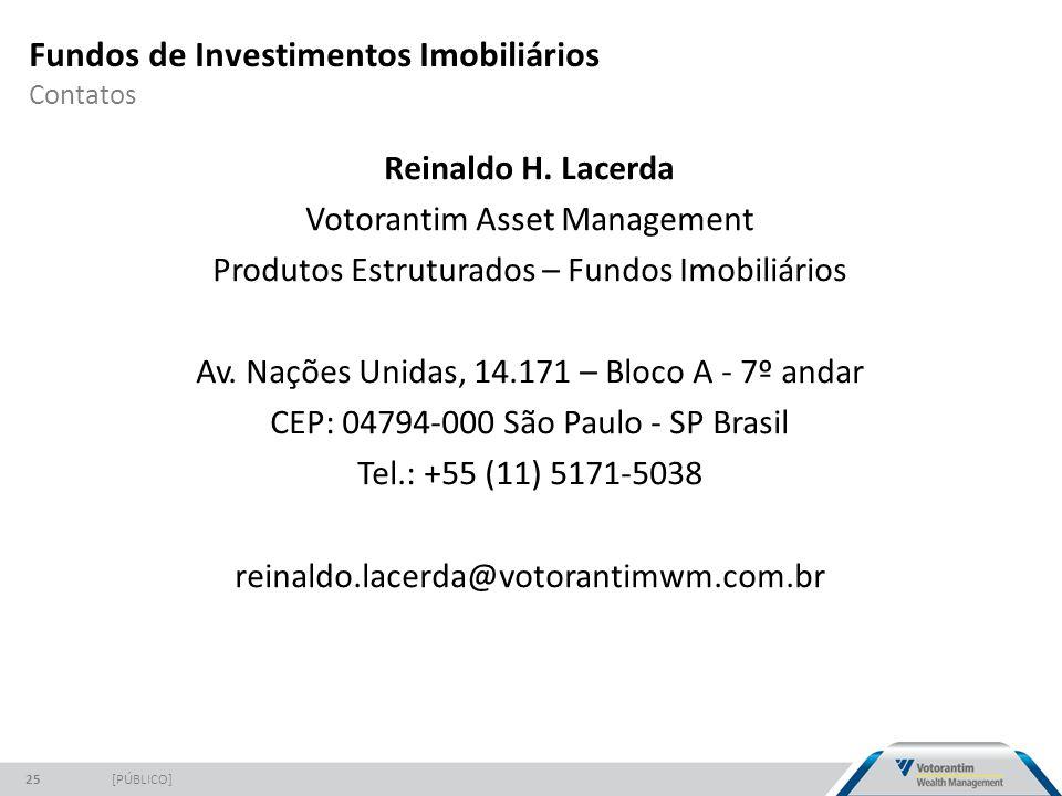 Fundos de Investimentos Imobiliários Contatos [PÚBLICO]25 Reinaldo H. Lacerda Votorantim Asset Management Produtos Estruturados – Fundos Imobiliários