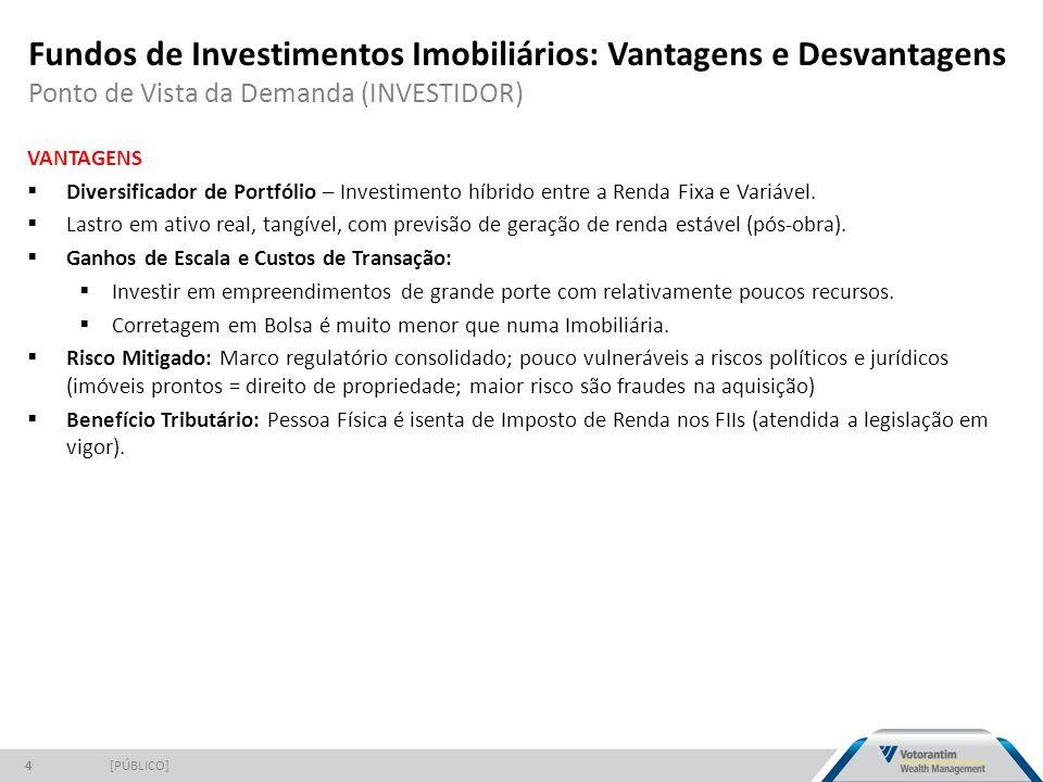 Fundos de Investimentos Imobiliários: Vantagens e Desvantagens Ponto de Vista da Demanda (INVESTIDOR) [PÚBLICO]4 VANTAGENS  Diversificador de Portfólio – Investimento híbrido entre a Renda Fixa e Variável.