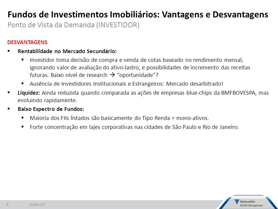 Fundos de Investimentos Imobiliários: Vantagens e Desvantagens Ponto de Vista da Demanda (INVESTIDOR) [PÚBLICO]5 DESVANTAGENS  Rentabilidade no Merca