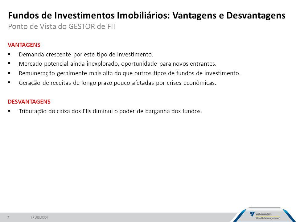 Fundos de Investimentos Imobiliários: Vantagens e Desvantagens Ponto de Vista do GESTOR de FII [PÚBLICO]7 VANTAGENS  Demanda crescente por este tipo