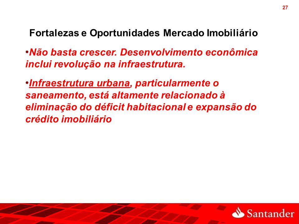 27 Fortalezas e Oportunidades Mercado Imobiliário Não basta crescer. Desenvolvimento econômica inclui revolução na infraestrutura. Infraestrutura urba