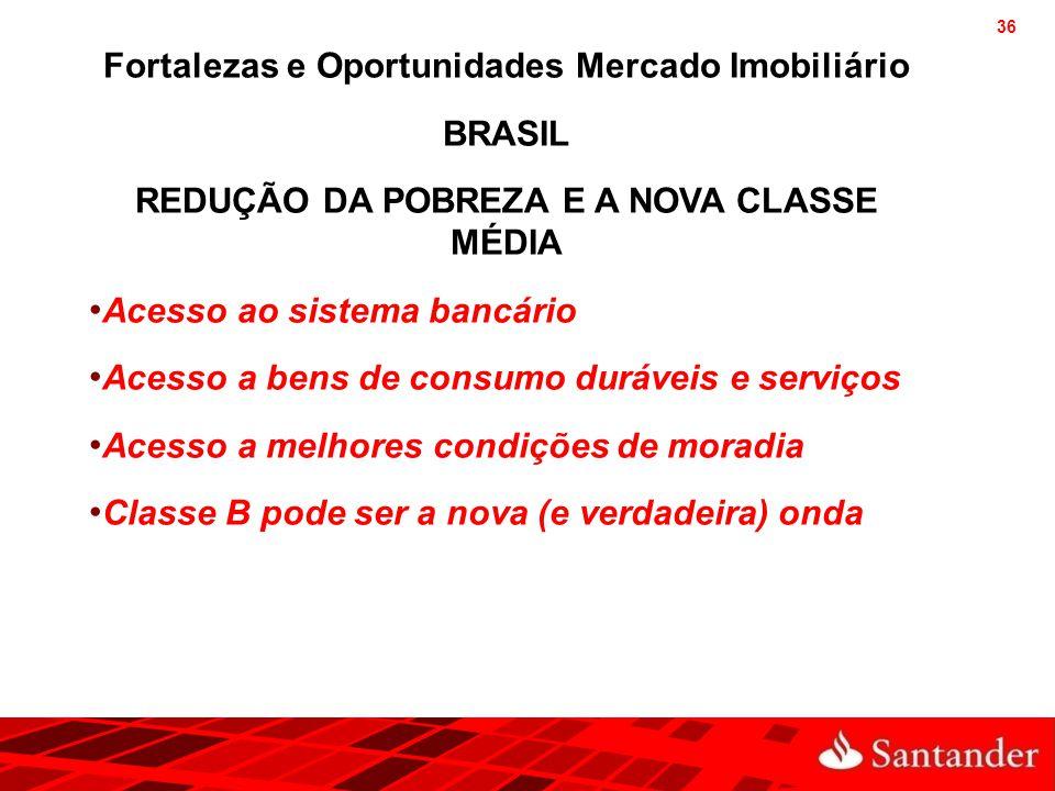 36 Fortalezas e Oportunidades Mercado Imobiliário BRASIL REDUÇÃO DA POBREZA E A NOVA CLASSE MÉDIA Acesso ao sistema bancário Acesso a bens de consumo
