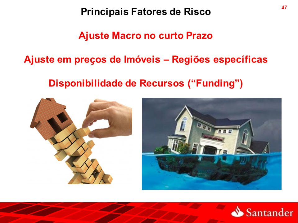 """47 Principais Fatores de Risco Ajuste Macro no curto Prazo Ajuste em preços de Imóveis – Regiões específicas Disponibilidade de Recursos (""""Funding"""")"""