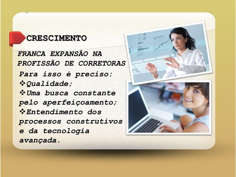 CRESCIMENTO FRANCA EXPANSÃO NA PROFISSÃO DE CORRETORAS Para isso é preciso:  Qualidade;  Uma busca constante pelo aperfeiçoamento;  Entendimento dos processos construtivos e da tecnologia avançada.